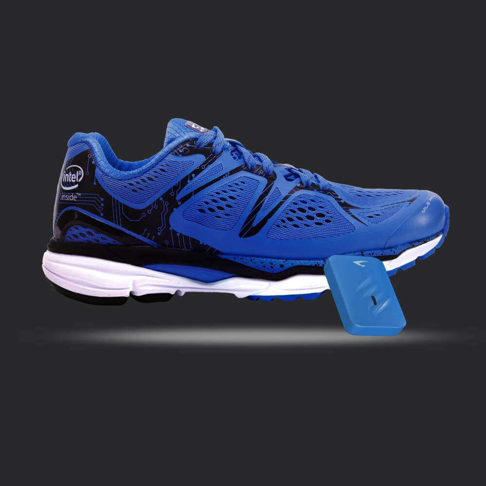 Blue Smart running Shoe with Fitness Tracker