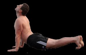 running and yoga upward dog
